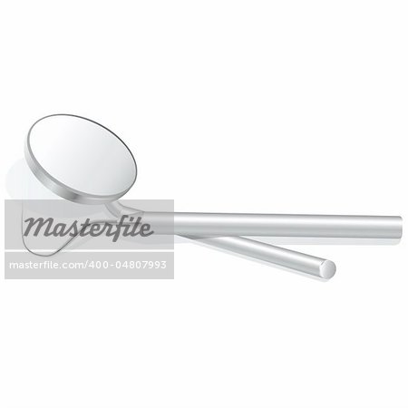 dental mirror and scaler isolated on white - vector illustration Stock Photo - Budget Royalty-Free, Image code: 400-04807993