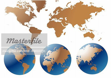 Globe and Map of the World Stock Photo - Budget Royalty-Free, Image code: 400-04810081