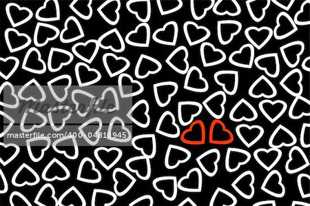 red hearts and white hearts drawn on a black background Stock Photo - Budget Royalty-Free, Image code: 400-04810945