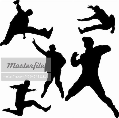people jumping silhouettes - vector