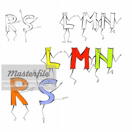 Set of cartoon style letters L, M, N, R, S Stock Photo - Budget Royalty-Free, Image code: 400-04815999
