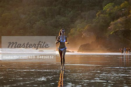 Young beautiful on a beach. One. Coast Pacific of ocean in Costa Rica. Stock Photo - Budget Royalty-Free, Image code: 400-04816032