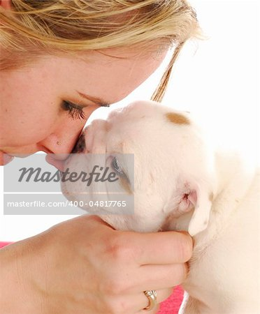 english bulldog puppy kissing woman on the nose Stock Photo - Budget Royalty-Free, Image code: 400-04817765