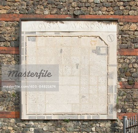 Ancient map of Turin on Roman wall in Torino, Italy Stock Photo - Budget Royalty-Free, Image code: 400-04821674