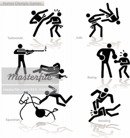 Olympic games see through an humor point of view. Set 4.  In detail: Tae Kwon Do, Judo, shooting, Boxing, Equestrian, Wrestling Stock Photo - Budget Royalty-Free, Image code: 400-04822574