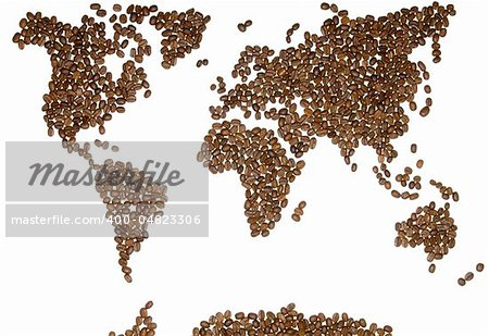 World map with coffee beans Stock Photo - Budget Royalty-Free, Image code: 400-04823306