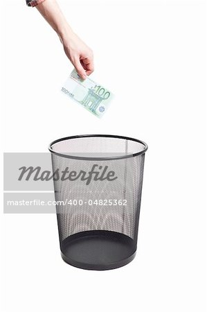 hand gold euro to trash can isolated Stock Photo - Budget Royalty-Free, Image code: 400-04825362