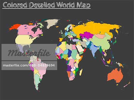 colored detailed world map, abstract vector art illustration Stock Photo - Budget Royalty-Free, Image code: 400-04829694