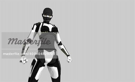 3d illustration of a cyborg character Stock Photo - Budget Royalty-Free, Image code: 400-04829703
