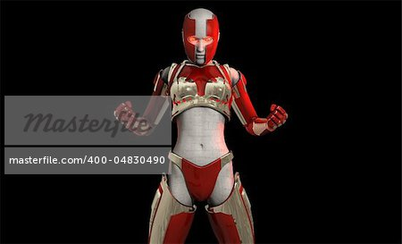 Quality 3d illustration of a futuristic cyborg soldier Stock Photo - Budget Royalty-Free, Image code: 400-04830490