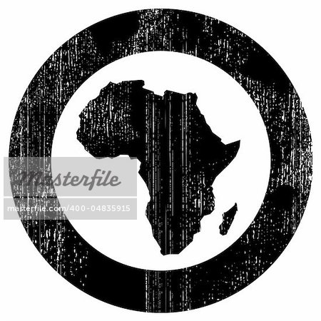 Silhouette of african continent inside the black circle