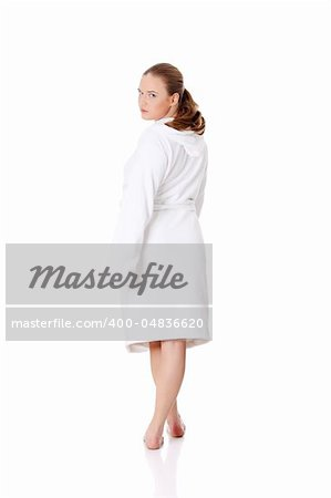 Full portrait of young beautiful woman wearing bathrobe, isolated on white Stock Photo - Budget Royalty-Free, Image code: 400-04836620