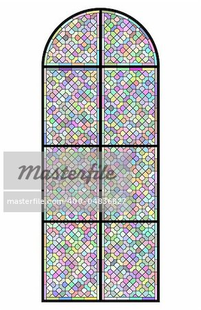 Stained glass church window on black Stock Photo - Budget Royalty-Free, Image code: 400-04836827