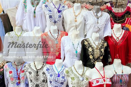 Mayan Mexico dresses embroidery shop in rows traditional clothes Stock Photo - Budget Royalty-Free, Image code: 400-04837560