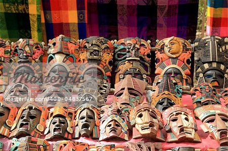 Colorful Mayan mask indian culture in Jungle handcrafts Stock Photo - Budget Royalty-Free, Image code: 400-04837567