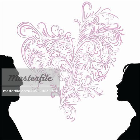 Man and woman face silhouette with heart. Vector illustration.