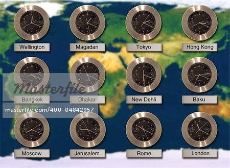 Wall with World Cities Time Zone Clocks Stock Photo - Budget Royalty-Free, Image code: 400-04842957
