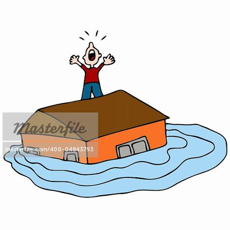 An image of a man on the roof of his flooded house screaming for help. Stock Photo - Budget Royalty-Free, Image code: 400-04843793