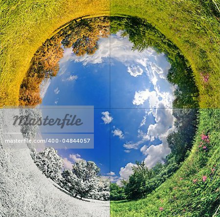 panoramic image looks like planet with seasons change. Ecology and space concept Stock Photo - Budget Royalty-Free, Image code: 400-04844057
