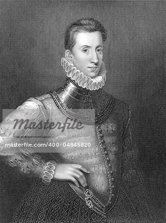 Sir Philip Sidney (1554-1586) on engraving from 1838. English poet, courtier and soldier. One of the most prominent figures of the Elizabethan Age. Engraved by H.Robinson and publised by J.F.Tallis, London & New York. Stock Photo - Budget Royalty-Free, Image code: 400-04845820