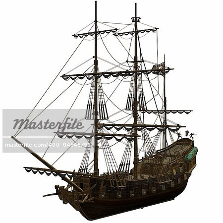 a dangerous Pirate Ship - isolated on white