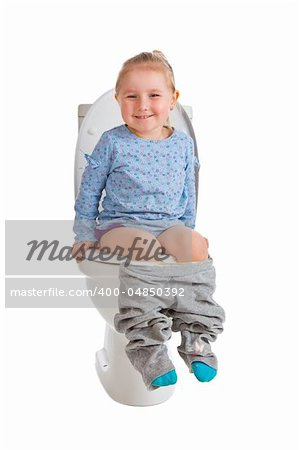the little girl is sitting on toilet Stock Photo - Budget Royalty-Free, Image code: 400-04850392
