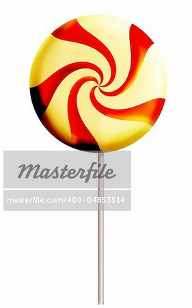 Lollipop candy on white background, red and yellow color. Digital illustration