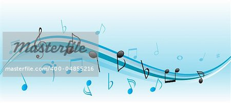 Musical notes on blue and white swirls