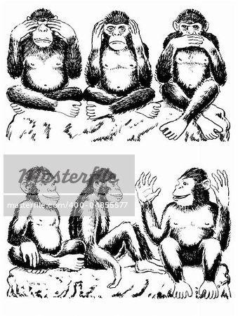 Black and white illustration of three monkeys acting out famous expression. See no evil, hear no evil, speak no evil. One monkey has his hands over his eyes, one over his ears, and another over his mouth. All sitting cross legged. Below are three monkeys acting out a variation of the famous expression. They are seeing  love, hearing love, speaking  love. Stock Photo - Budget Royalty-Free, Image code: 400-04855577
