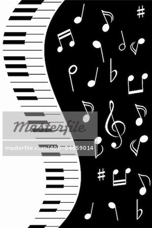 Various music notes with piano keys