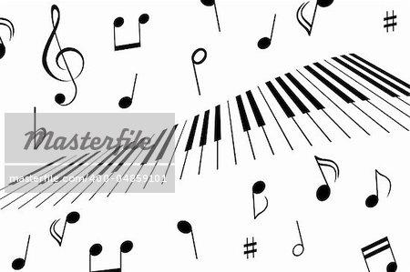 Music notes around the piano keys