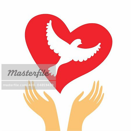 The sign of peace and love - the heart and a dove in his hands.