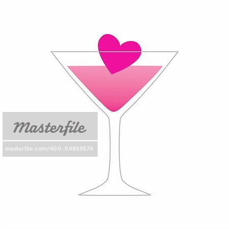 symbol of love - love of a drink - a glass with a heart Stock Photo - Budget Royalty-Free, Image code: 400-04859574