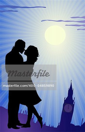 Vector illustration of couple kissing during tour in England Stock Photo - Budget Royalty-Free, Image code: 400-04859890