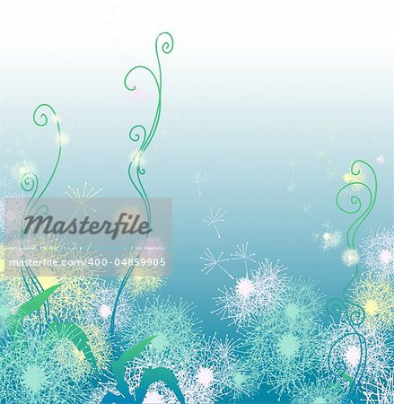 Vector illustration of blue background with dandelions