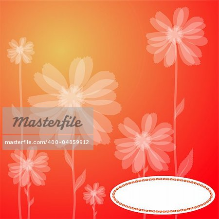 Vector illustration of a red greeting card with transparent flowers