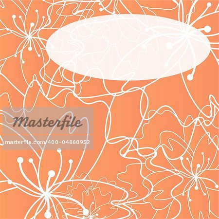 Vector illustration of floral greeting card with orange flowers