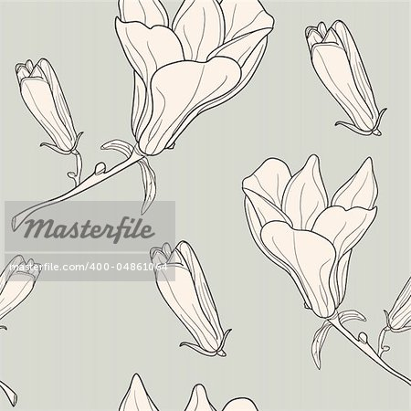 Vector of grey seamless pattern with magnolias