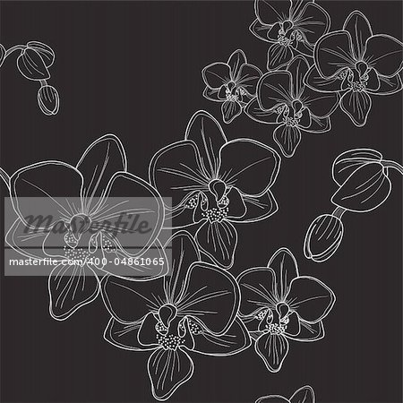 Vector of black seamless pattern with orchid