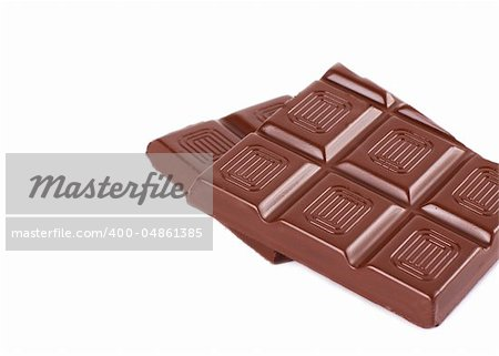 Bar of chocolate isolated on the white