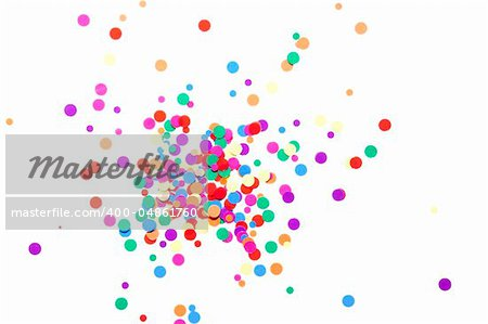 colored round confetti spilled on white Stock Photo - Royalty-Free, Artist: raysay, Code: 400-04861760