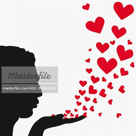 Profile man face, silhouette hand. Handsome boyfriend blowing heart. Drawing background. Beautiful vector illustration.
