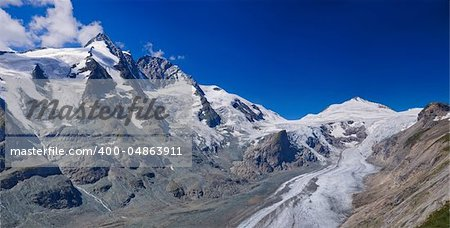 Glacier on Grossglockner, summer in Austria. Panorama Stock Photo - Budget Royalty-Free, Image code: 400-04863911