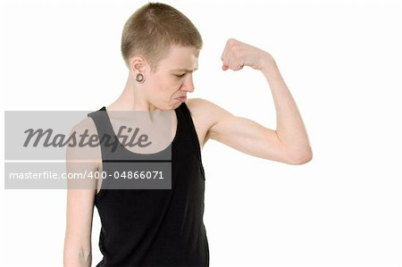 funny skinny teen shows biceps Stock Photo - Budget Royalty-Free, Image code: 400-04866071