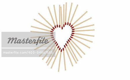 matchsticks in a row shows a heart-shape Stock Photo - Budget Royalty-Free, Image code: 400-04867555