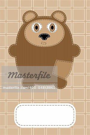 hand drawn vector bear gift card design