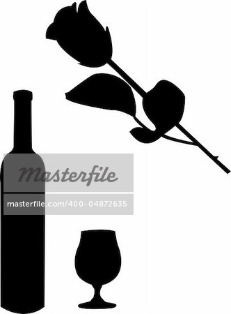 wine and rose illustration - vector Stock Photo - Budget Royalty-Free, Image code: 400-04872635