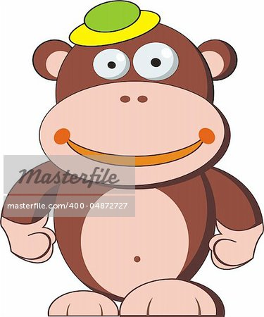 funny monkey cartoon, isolated on White Stock Photo - Budget Royalty-Free, Image code: 400-04872727