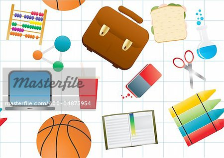 Vector illustration of education background on white paper Stock Photo - Budget Royalty-Free, Image code: 400-04873954