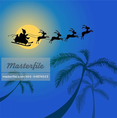Vector illustration of Santa Claus with reindeer flying over Africa Stock Photo - Budget Royalty-Free, Image code: 400-04874003